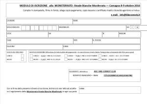 Il modulo di iscrizione alla Monsterrato-Strade Bianche Monferrato (8-9 ottobre 2016, Camagna Monferrato)